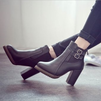 Women Thick High Heel Double Buckle Elastic Bootie Zip Martins Ankle Boots Fashion Ladies Shoes - Intl