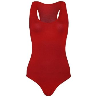 Linemart New Fashion Women Muscle Racer Back Sleeveless Bodysuit Stretch Leotard Vest Top ( Red ) - intl