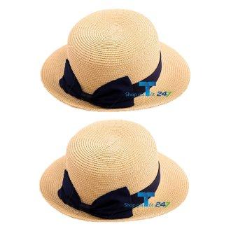 Bộ 02 mũ cói vành nhỏ đính nơ trơn GT 247 (Vàng cát)