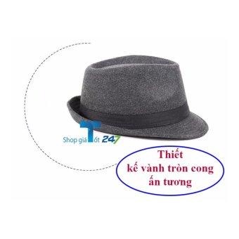 Mũ phớt nam viền cong HT35 phong cách lịch lãm( Đen)