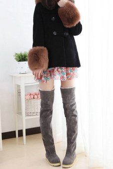 Cyber New Anti-skidding Winter Snow Boots Flat Bottom High Knee Boots (Grey) - Intl