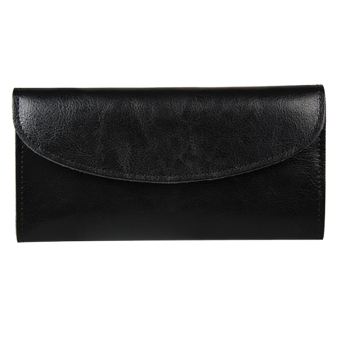 Women Genuine Leather Wallet Clutch Purse Handbag Bag Trifold Bifold Black - Intl