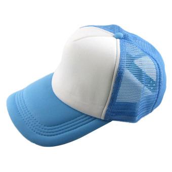 Casual Hat Solid Baseball Cap Trucker Mesh Blank Visor Hat Skyblue+White