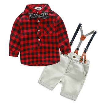 2Pcs Denim Suspender Pants + T-shirt Red - intl