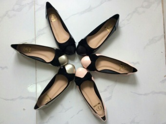 Giày búp bê nơ nhung BBNN-03 (Kem)