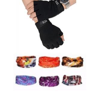 Găng hở ngón 511 đen + khăn phượt màu ngẫu nhiên