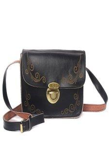 HKS Women Tote Hobo Messenger Bags Retro Faux Leather Crossbody Satchel Black - intl