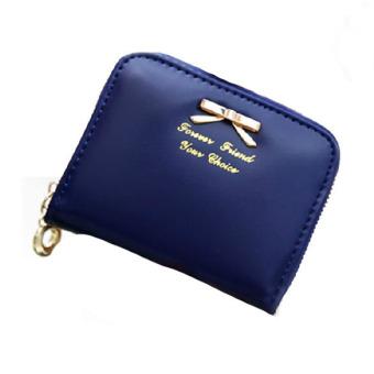 Women Lovely Leather Wallet Card Holders Blue (Intl)