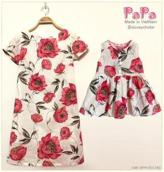 Bô Váy Mẹ Và Bé Hoa Hồng Papa Fashion