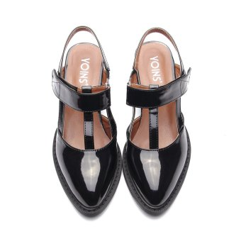 YOINS Women 2016 New Black Leather Look Hollow Heel Slingback Shoes with Velcro Fastening Summer Autumn - intl