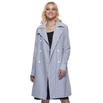 Women Turn Down Collar Striped Pocket Trench Coat (Ice Blue) - intl