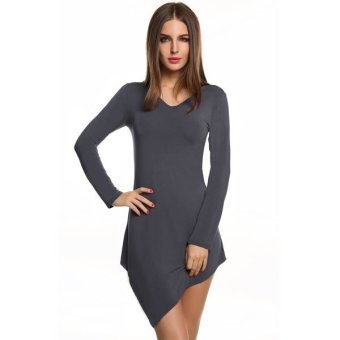 Cyber Meaneor Fashion Ladies Women Casual Long Sleeve Asymmetric Hem Stretch Bodycon Tops Blouse(Dark Gray) - intl