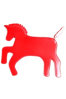 Lalang Lovely Pony Unicorn Clutch Wallet Handbags (Red)