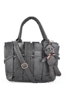 Túi xách cao cấp rào kèm gấu (Xám)