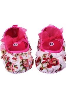 Moonar Newborn Baby Girls Rose Flower Bowtie anti-skidding Soft Sole Walking Shoes