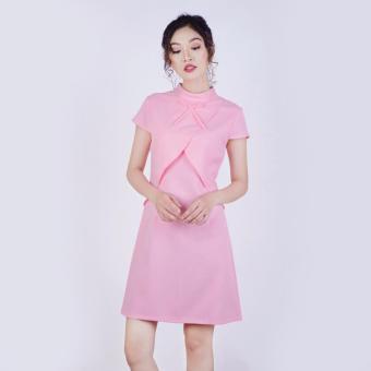 Đầm Suông Phối Vạt Thời Trang Eden (Hồng) - D182