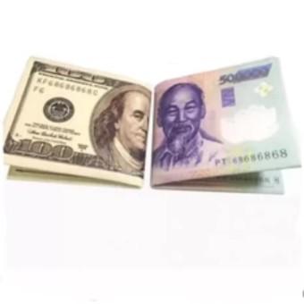 Bộ 2 Ví da cao cấp in hình tiền 500 VND và 100 USD