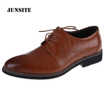 Junsite Men Business Lace Up Leather Oxfords Flats (Deep Brown) - intl