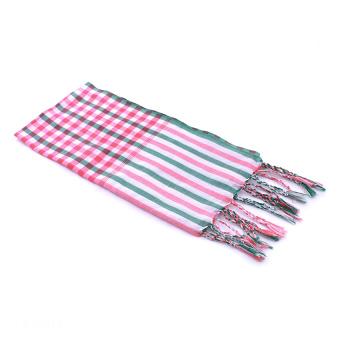 Khăn rằn thời trang Mix Green Pink Stripe Scarf (Hồng)