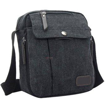 Unisex Women Men Canvas Multi-function Outdoor Sport Camping Hiking Travel Small Shoulder Bag Crossbody Bag Message Bag Black