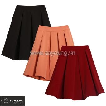 Bộ 3 Chân Váy Ngắn Dáng Xòe SoYoung 3SKIRT 008C R B CO (Đỏ Đen Cam).