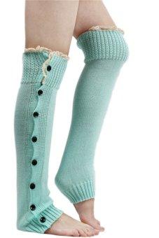 Lalang Knee High Knit Socks Lake Blue - intl
