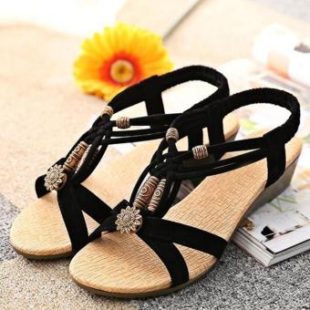 Women's Casual Peep-toe Flat Buckle Shoes Roman Summer Sandals Black - intl