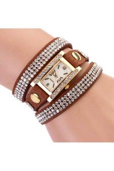 HKS 2015 New Women Luxury Leather Dress Quartz Gold Wristwatch Brown - intl