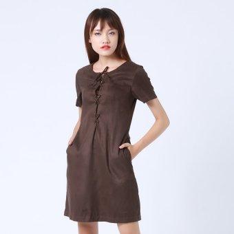Đầm vải da lộn thắt chéo ngực Button On BD045 (Nâu)