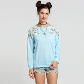 Sunweb Women's Lady Loose Long Sleeve Casual Blouse Lace Splicing Fashion Pullover Tops ( Light blue ) - intl