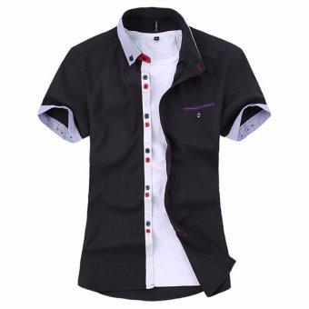 2016 New Mens Shirt Striped Cotton Short Sleeved Shirt Color Slim Mens Casual Shirt (Black) - intl