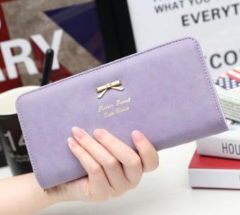 Women Clutch Long Bow Purse Wallet Card Holder Handbag Bag Purple free shipping - intl