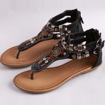 LALANG Women Flat Sandals Vintage T-Strap Flip Flops Summer Shoes (Black) - Intl