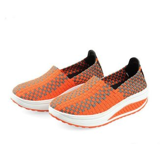 Women's Stretch Casual Breathable Knit Shook Shoes Sneakers Yellow - Intl