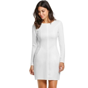 Linemart Women Casual Long Sleeve O-Neck Solid Zipper Closure Dress ( White ) - intl