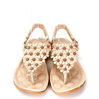 2016 Women Summer Bohemia Sandals Flower Shoes Splice Floral Strappy Flip Flops - Intl