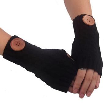 Hemp Flowers Fingerless Knitted Gloves Black - Intl