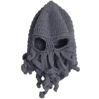 Unisex Kids Child Octopus Style Acrylic Fibers Winter Warm Knitting Face Mask Knitted Beard Squid Hat Cap for 3-8 Years Old Kids Grey - intl