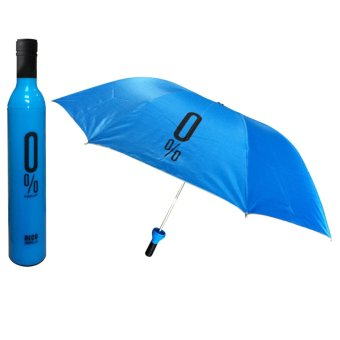 Outdoor Wine Bottle Sun Rain Folding UV Umbrella Fashion Girl Boy #14 Blue (Intl)