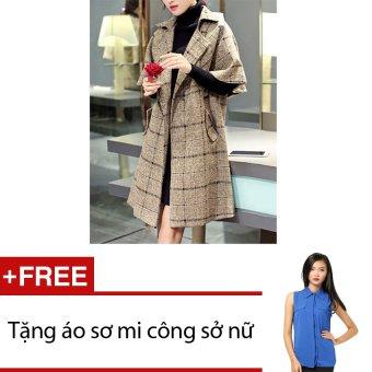 Áo khoác dạ Mangto Zahra AK39 (Nâu) + Tặng 1 áo sơ mi công sở nữ