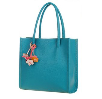 niceEshop Large Capacity Candy Color PU Leather Ladies Handbag Tote Bag (Sky Blue) - Intl
