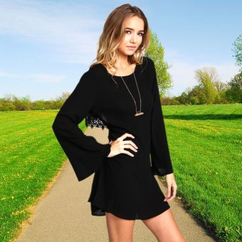 Women Chiffon O-Neck Flare Sleeve Backless Loose Party Dress (Black) - intl