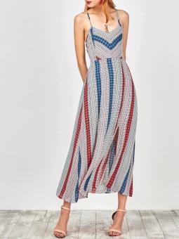 Gamiss Women Fashion Geometric Slit Slip Lace Up Holiday Dress(Multicolor) - intl