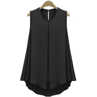 Moonar Women's Fashion Summer Chiffon Tank Top Vest O-neck T-Shirt Sleeveless Blouse S-XXL (Black) - intl
