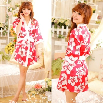 Low Cut Kimono Sleepwear Robe Nightgown Uniform Thong Red - intl