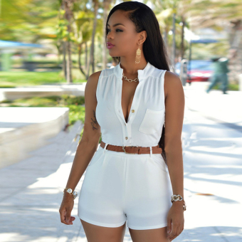 Woman Elegant OL Style High Collar Design Double Pockets Jumpsuits With Belt(White)--TC - intl
