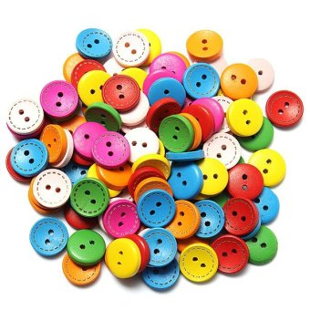 100pcs Colorful Mixed Round Wood Wooden Buttons Sewing DIY Craft 15mm 2 Holes - intl