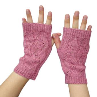 Women's Warm Winter Gloves Mittens Pink - Intl