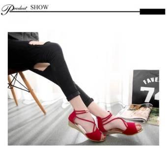 Sexy Cross Strap Zipper Design Wedge Heel Sandals for Women (Red) - intl
