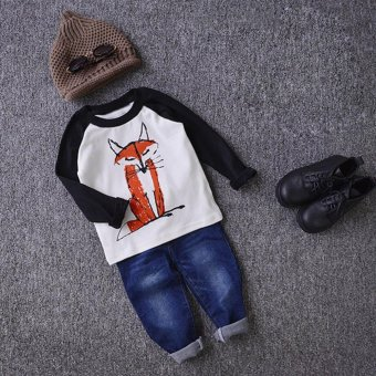 Cute Baby Kids Boys Girls Long Sleeve Letter Print T-Shirt Top Outfits Black - intl
